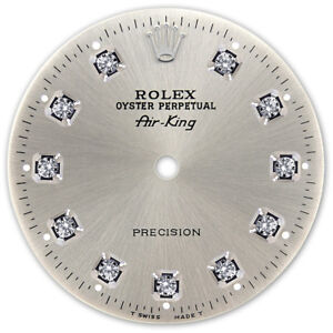 Rolex Air King Stainless Steel Silver Color Diamond Dial