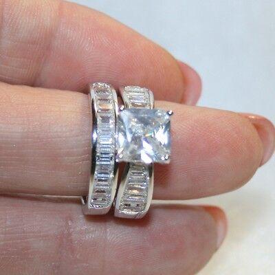 Diamond Alternatives Wedding Engagement Promise Band Ring Platinum Over 925 SS