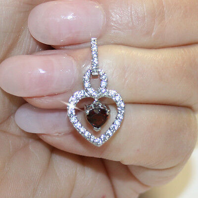Garnet Heart Diamond Alternatives Dangle Earrings 14k White Gold over 925 SS  14k Garnet Heart Earrings
