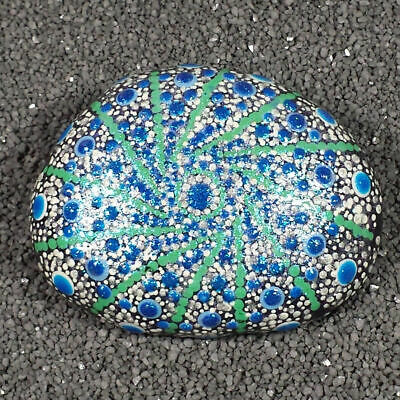 Hand Painted Rock, Spiral Snowflake Mandala, 3.6 x 2.75 inch, Dot Painting, RP44 Hand Painted Snowflake