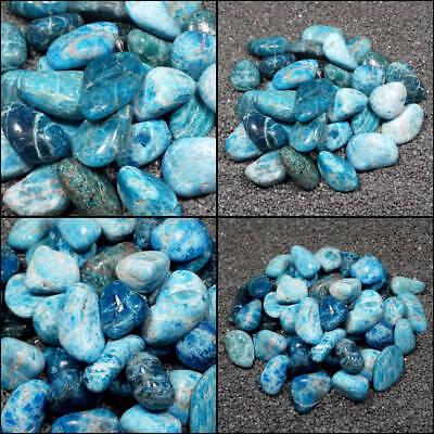 Blue Apatite Tumble Polished Crystal Stone, Sizes 0.8 to 1.5