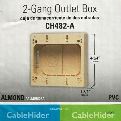 Monosystems Cablehider 2-gang Pvc Electrical Outlet Box - Almond - Ch482-a
