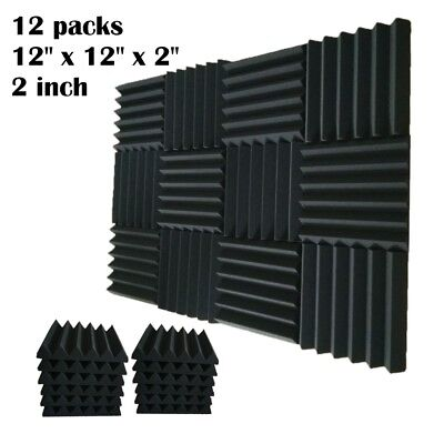 - 12 pcs 2x12x12 IN Premium Acoustic Foam Panel Tile Wall Record Studio Soundproof