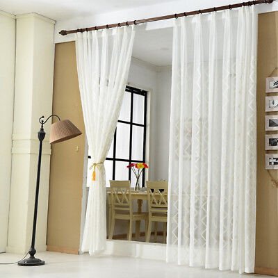 Cotton Modern Curtain - White Sheer Tulle Curtain Geometric Embroidered Modern Hook Cotton Drape 1 Panel