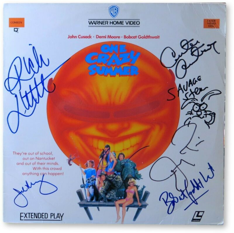 One Crazy Summer Cast Autograph Laserdisc Cover Cusack Little Piven JSA GG68714