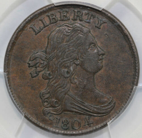 1804 1/2c Crosslet 4 with Stems PCGS and CAC XF 45