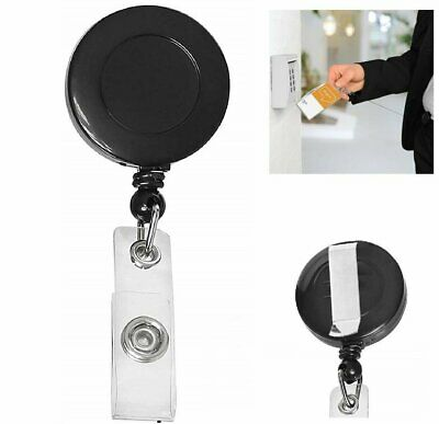 Retractable ID Card Holder Reel Badge Key Tag Clip Black Clothing, Shoes & Accessories