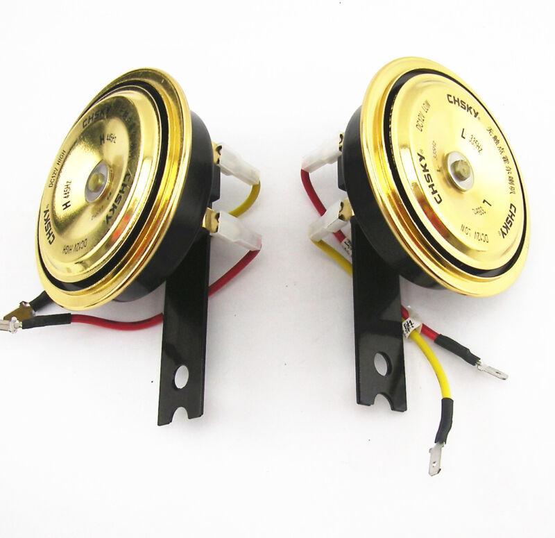 2 x 128dB Waterproof Golden Smart Compact Metal Horn Loud Speaker 4 Wheel Drive