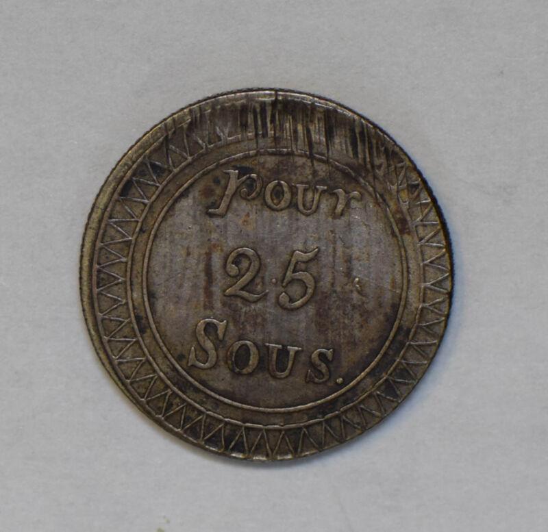 Mauritius 1822 25 Sous silver rare this grade M0242 combine shipping