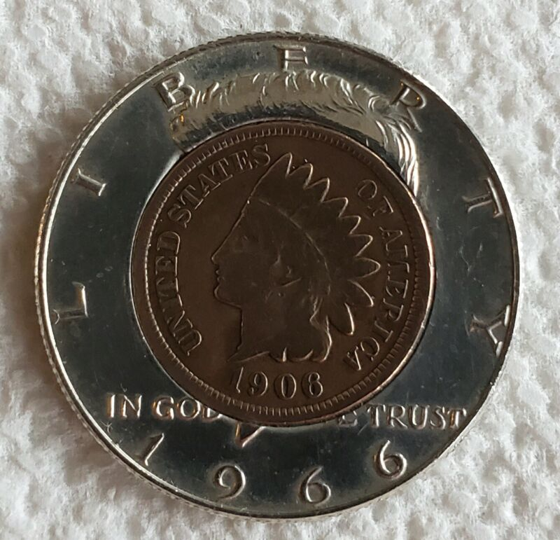 Coin Golf Ball Marker - 1966 40% silver Kennedy Half with 1906 Indian head