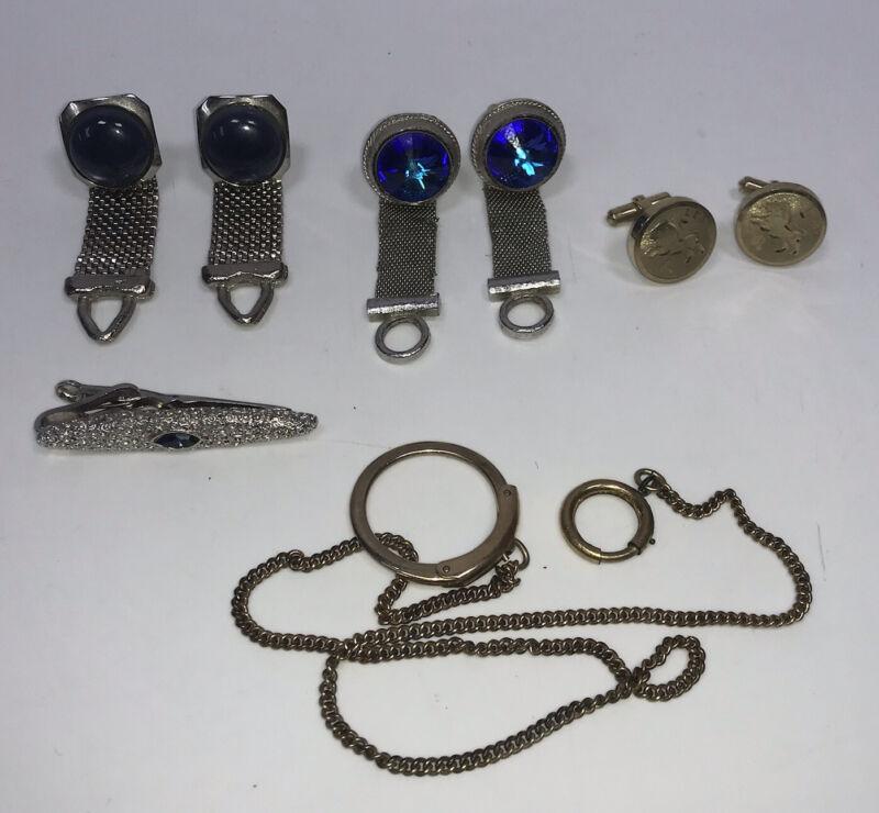 VTG Cuff Links Lot Of 3-Mesh, Leo, Blue Stones Silver Tone W/Watch Fob Tie Clip