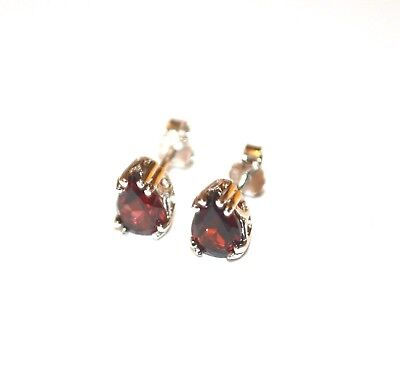 New .925 Sterling Silver Garnet Stud Earrings 7mm Gemstone 1.6 cttw Pear -