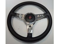 FOR MG TD MIDGET 50-53 BEIGE PERFORATED ITALIAN LEATHER STEERING WHEEL COVER NEW