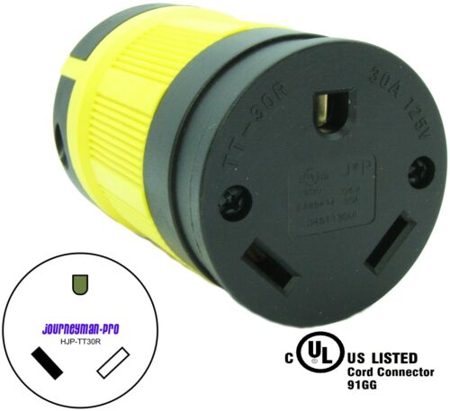 NEMA TT-30R Female Plug Replacement Cord Connector Heavy Duty RV Generator TT30R