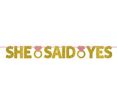 12ft She Said Yes Gold Glitter Letter Banner Wedding Engagement Party Decoration