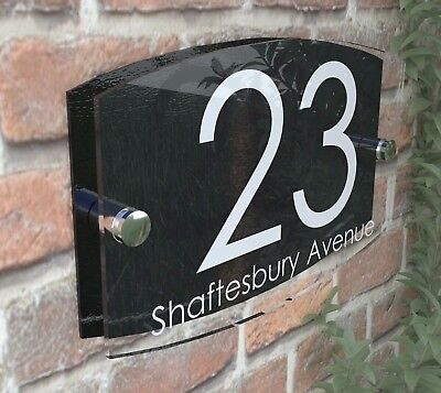 Contemporary House Sign Plaque Door Numbers 1 - 999 Personalised Name Address