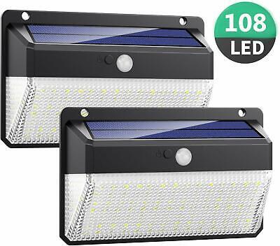 2X LAMPARA FOCO 108 LED SOLAR EXTERIOR LUZ SENSOR MOVIMIENTO