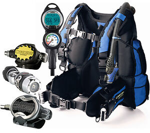 Cressi Air Travel BCD, Regulator, Dive Computer, Scuba Gear Package, Medium