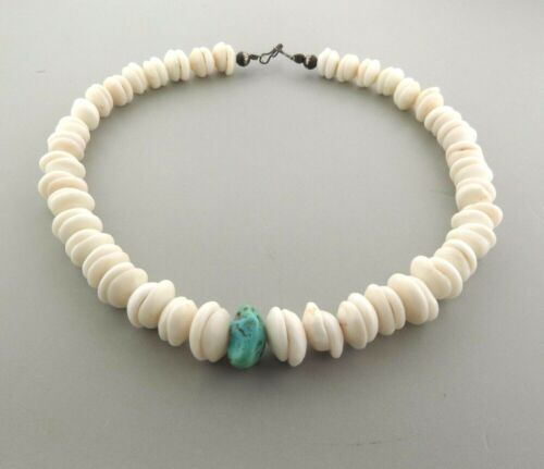 """Vintage Genuine Puka Shell Necklace with Turquoise 12-17mm 17.5"""""""