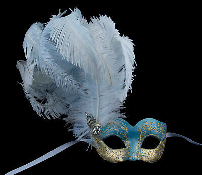 Mask from Venice Blue Golden Colombine in Feathers Ostrich Paper Mache 22520