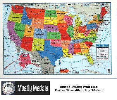 United States Us Wall Map   40  X 28  Usa Poster Size   Home School Office