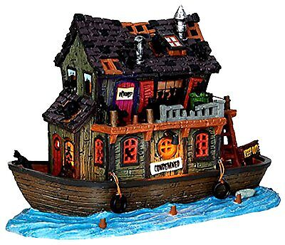 HAUNTED HOUSEBOAT New LEMAX SPOOKY Burgh HALLOWEEN VILLAGE Cat Collection House Boat
