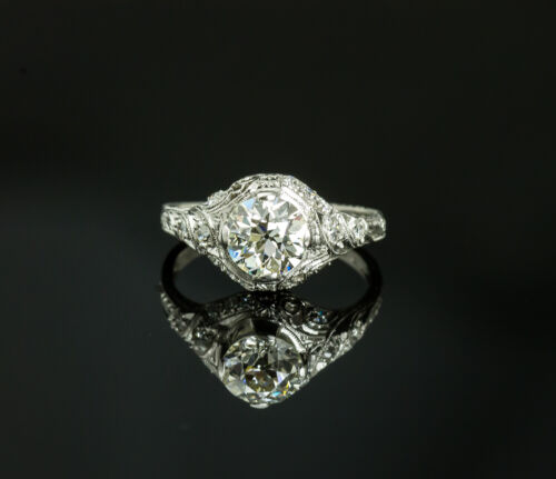 Vintage Platinum Old European Cut Diamond Ring