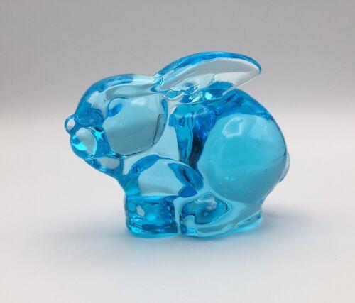 Adorable Small Handmade Crystal Blue Art Glass Bunny Figurine