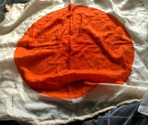Silk Japan National Flag  38 x 28 Inch plain from 1946 serviceman souvenir