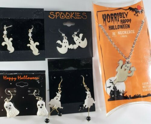 Vintage to Now Halloween Earrings  Necklace Lot GHOSTS Silver Tone 🎃