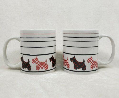 Set of 2 Plaid Scotty Dog Coffee Mug Cup 10 Oz Plaid Red Black MSRF Designs