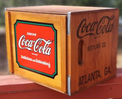 Rare 1993's Coca-Cola Wooden Box Crate With Magnetic Logo