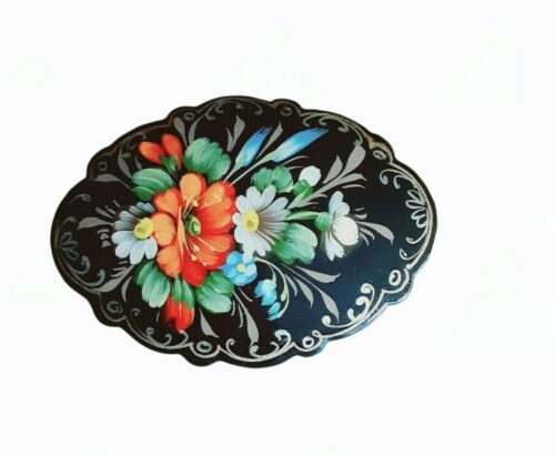 Vintage Russian Hand Painted Signed Floral Lacquered Brooch