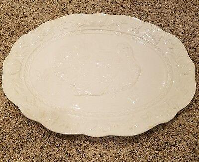 Serving Plate Large Turkey Thanksgiving White ceramic platter Chesapeake Himark ()