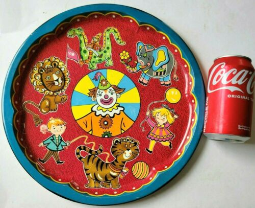 Vintage Circus Clown Tin Tray Daher Decorated Ware Metal Platter Made in England
