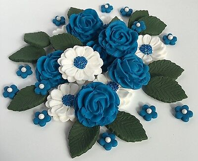 Royal Blue/White Roses Bouquet Wedding Cake Decorations Sugar Cupcake Toppers (Royal Blue Cupcakes)