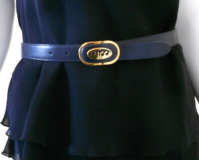 "Gucci GOLD abstract ""Gucci"" buckle Navy Leather Belt Authentic Made in Italy NEW"