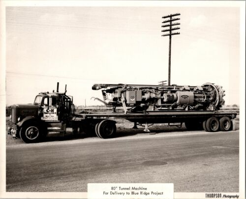 """Hughes Tool 80"""" Tunneler on Semi Truck no2 Promotional Real Photo Glossy 8x10 BK"""