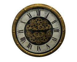 Vintage Steampunk Style Gold and Black Skeleton Wall Clock with Moving Gears