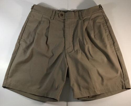 Dockers Mens Pleated No Wrinkle Premium Khaki Shorts Sz 34 N