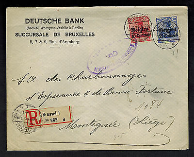 1915 Belgium Germany Occupation Deutsche Bank Cover To Liege