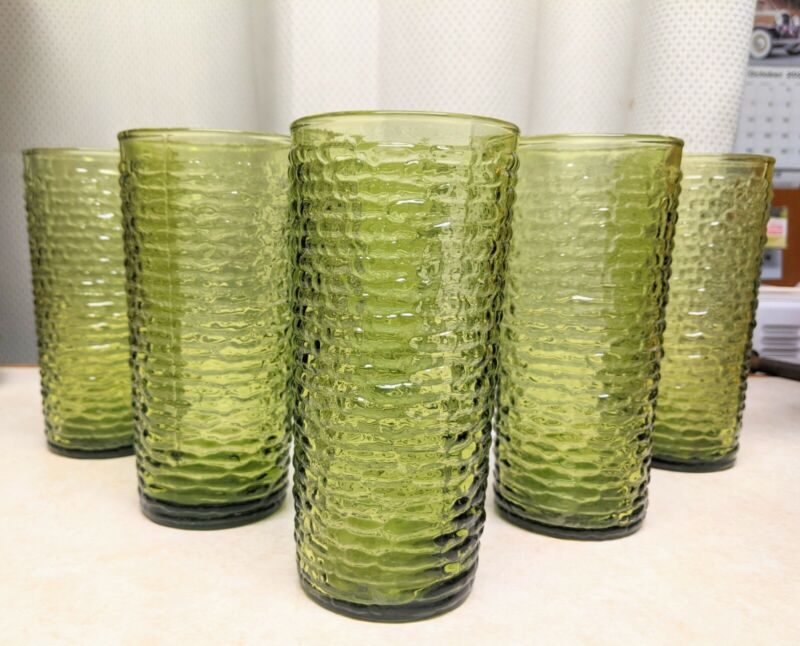 Vintage Anchor Hocking Soreno Avocado Green Highball Textured Drinking Glasses