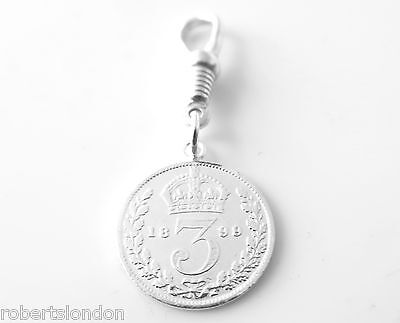 Sterling Silver 1899 Three Pence Coin Pocket watch or Albert Chain Fob Charm -