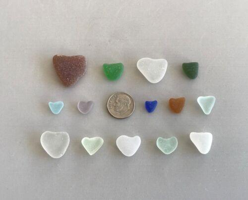 Genuine Beach Sea Glass Perfectly Heart-shaped Beautiful Colors Surf-tumbled