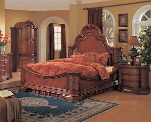 traditional 4pc master bedroom furniture set king queen size bed