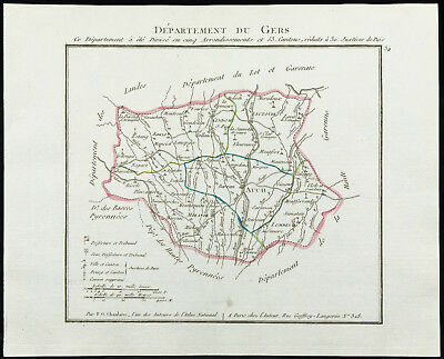 1802 - Antique Map Department the Gers of Chanlaire. France