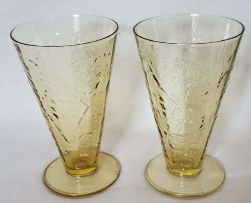 Vintage Federal Glass Company Yellow Madrid 5oz Footed Tumbler Set