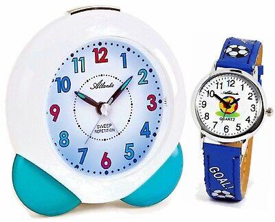 SET Kinderwecker + Armbanduhr für Jungen Blau Fußball - Atlanta 1733/5 KAU