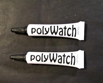 2 x POLYWATCH WATCH GLASS REPAIR RESTORER POLISH ACRLIC PLASTIC SWATCH ETC
