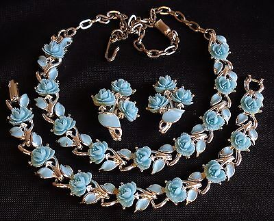 Vintage 3PC Necklace Bracelet Earrings Set Sky Blue Floral Enamel W/ Roses